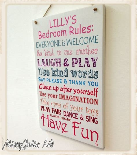 Best Personalised Children Bedroom Rules Wooden Plaque Boy Girl With Pictures